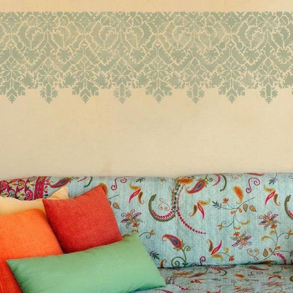 Moroccan Lace Wall Border Stencil Bohemian Wall Art