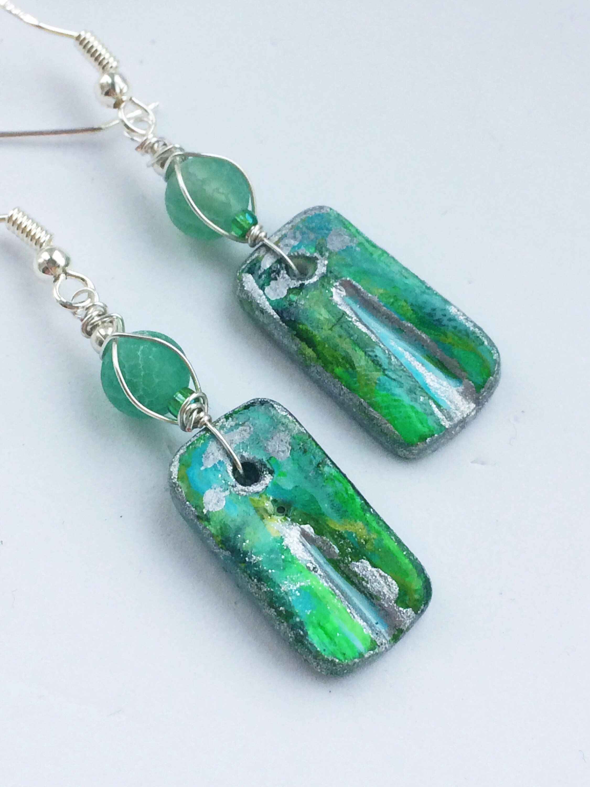 Unusual Drop Earrings Fine Jewellery With Agate Gemstones Green Turquoise Wire Wrap Sterling Silver Contemporary Uk Design