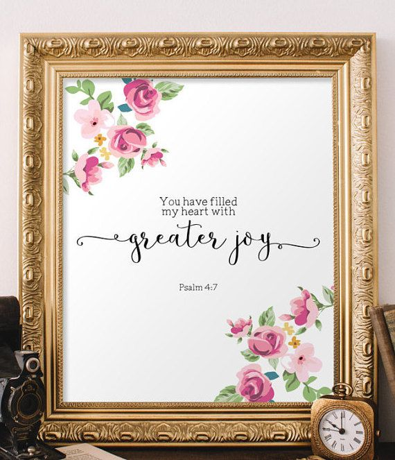 Psalm 4:7, Printable verses, Bible quote print, Bible verse, Scripture wall art signs, Christian wall art, Home decor Scripture decor BD-991 #bible