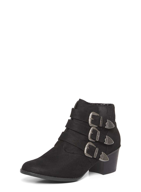 Dorothy Perkins Womens Black Angela Western Boots- Black Black Angela  Suedette western triple buckle block