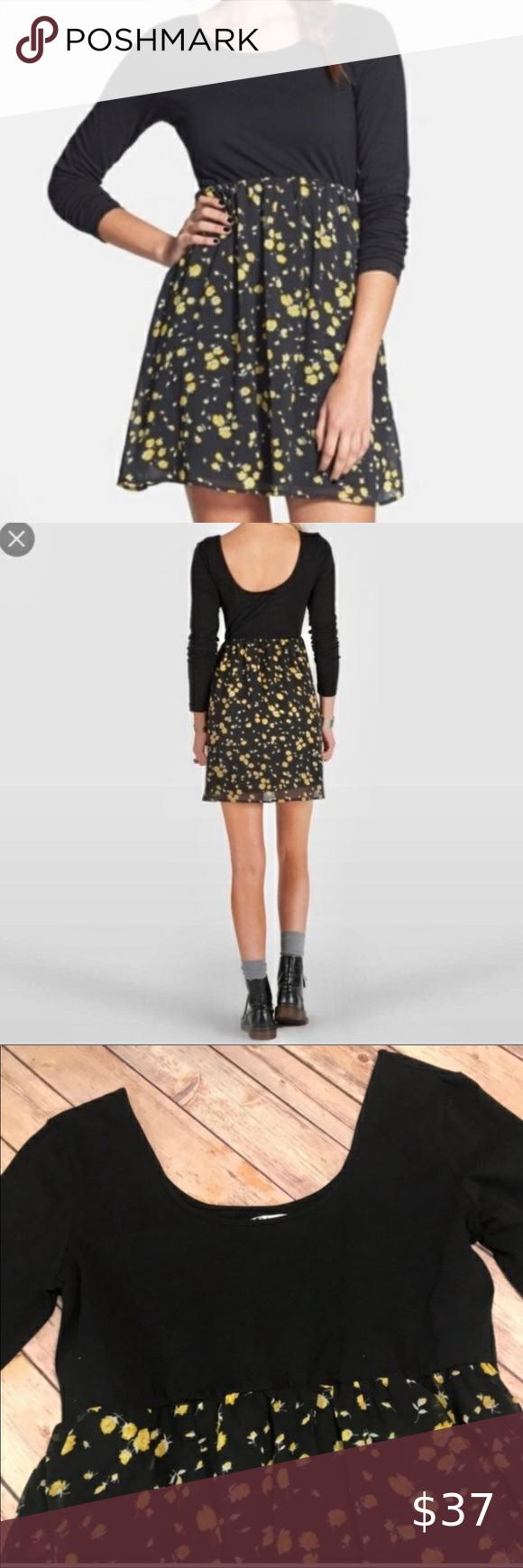 Nwt Volcom Black Dress With Yellow Flowers Cute White Dress Denim Mini Dress Floral Dress Black [ 1740 x 580 Pixel ]