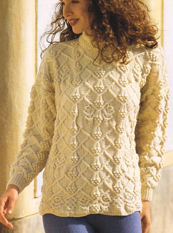One Size DK Sweater Drop Sleeve ~ Cables   Bobbles ~ Knitting Pattern 12d4754af5