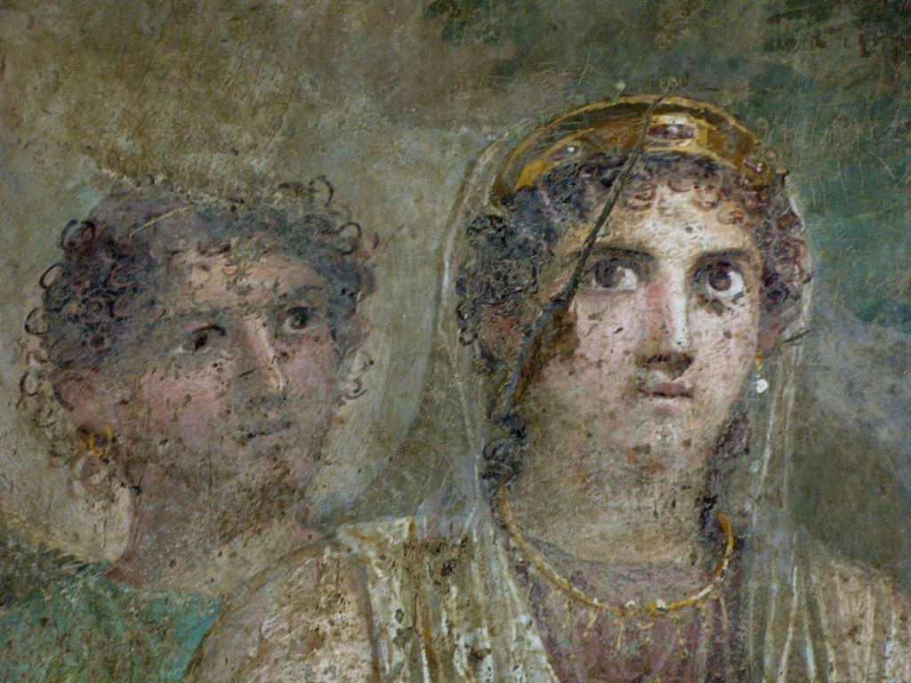 Ancient Roman painting on a wall of a villa in the buried ...