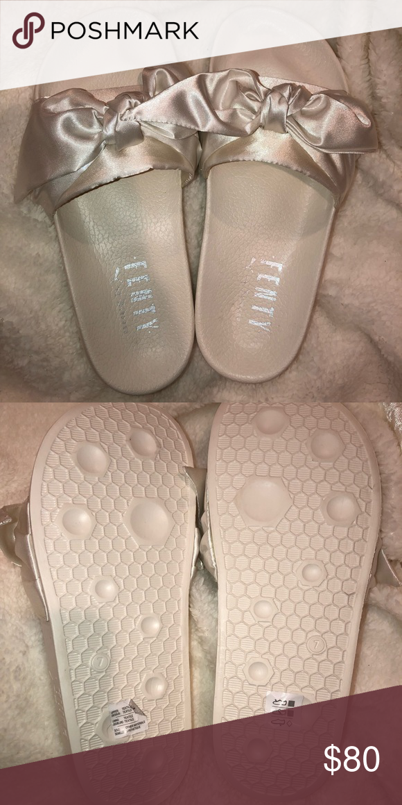 buy online 89e98 491eb Satin Bow Fenty Puma slides Rihanna White brand new never ...