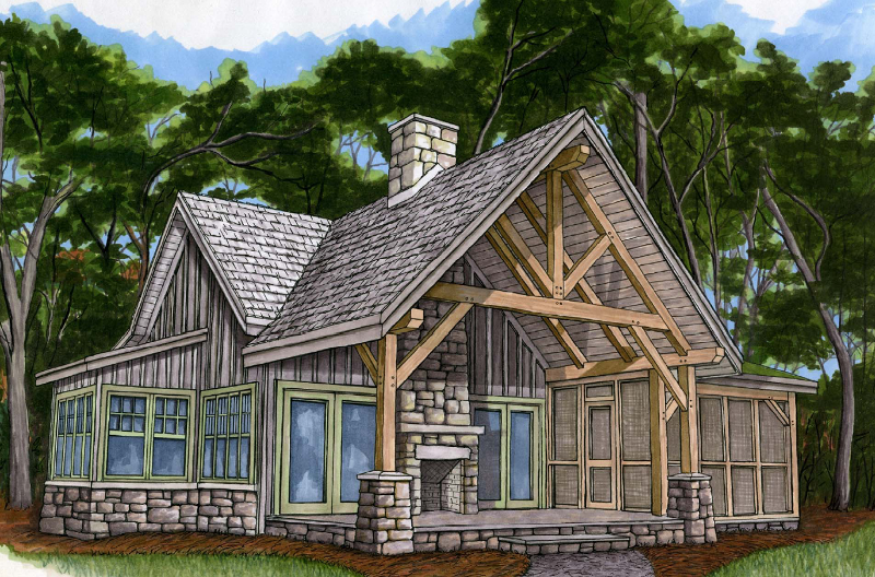 Piney creek cottage fireplace screens screened porches for Small timber frame home plans