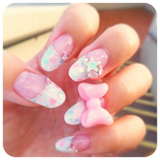 Pastel bow nail art   Style: Nails   Pinterest   Bow nail art ...