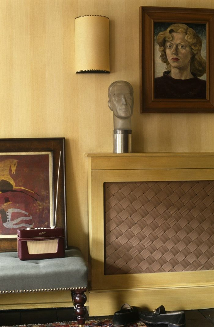 heizkörperverkleidunggeflochten wohnzimmer leinwand helles holz - leinwand für wohnzimmer