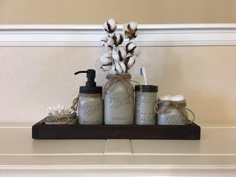 Rustic Bathroom Decor, Mason Jar Bathroom Set Bronze, Oil Rubbed Bronze, Farmhouse Bathroom Decor, Mason Jar Bathroom Set, Painted Mason Jar #masonjarbathroom