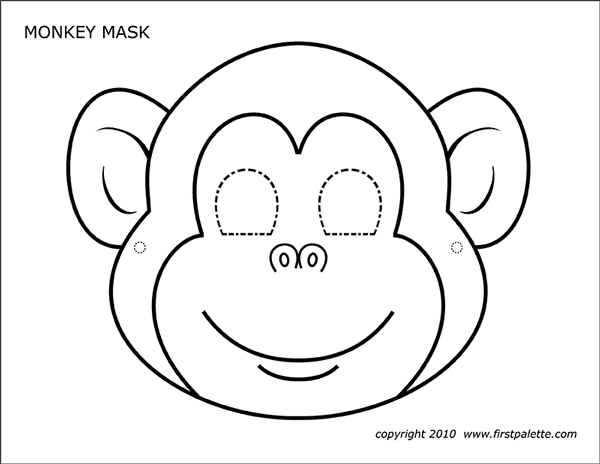 Monkey Mask Free Printable Templates Coloring Pages Firstpalette Com Monkey Mask Monkey Crafts Coloring Mask