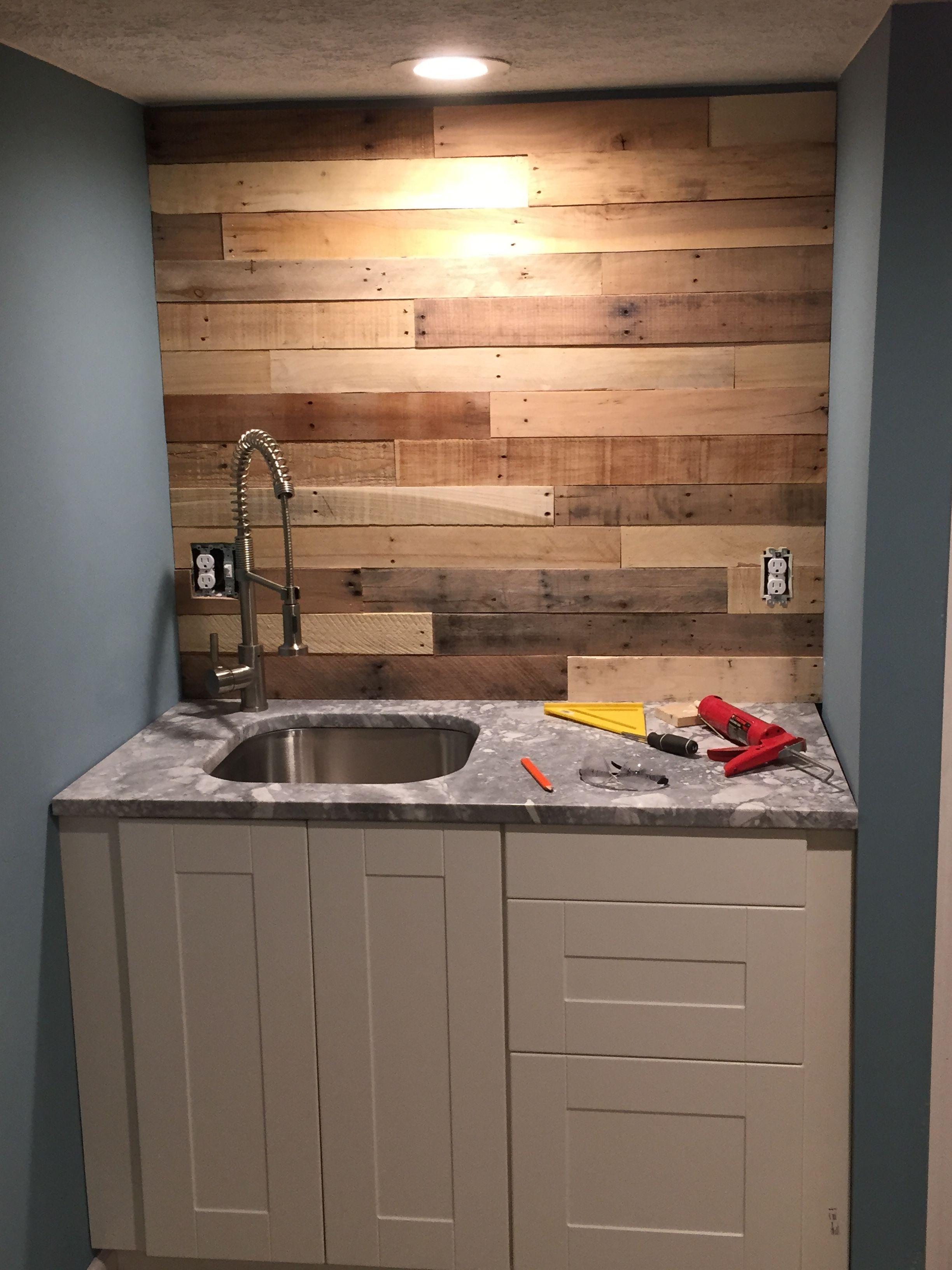 Pallet Wood Back Splash Pallet Backsplash Wood Backsplash Updated Kitchen