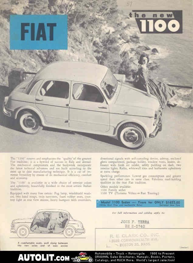 1957 Fiat 1100 Sedan Sales Brochure mw3276-2I3VFH | Pinterest | Fiat ...