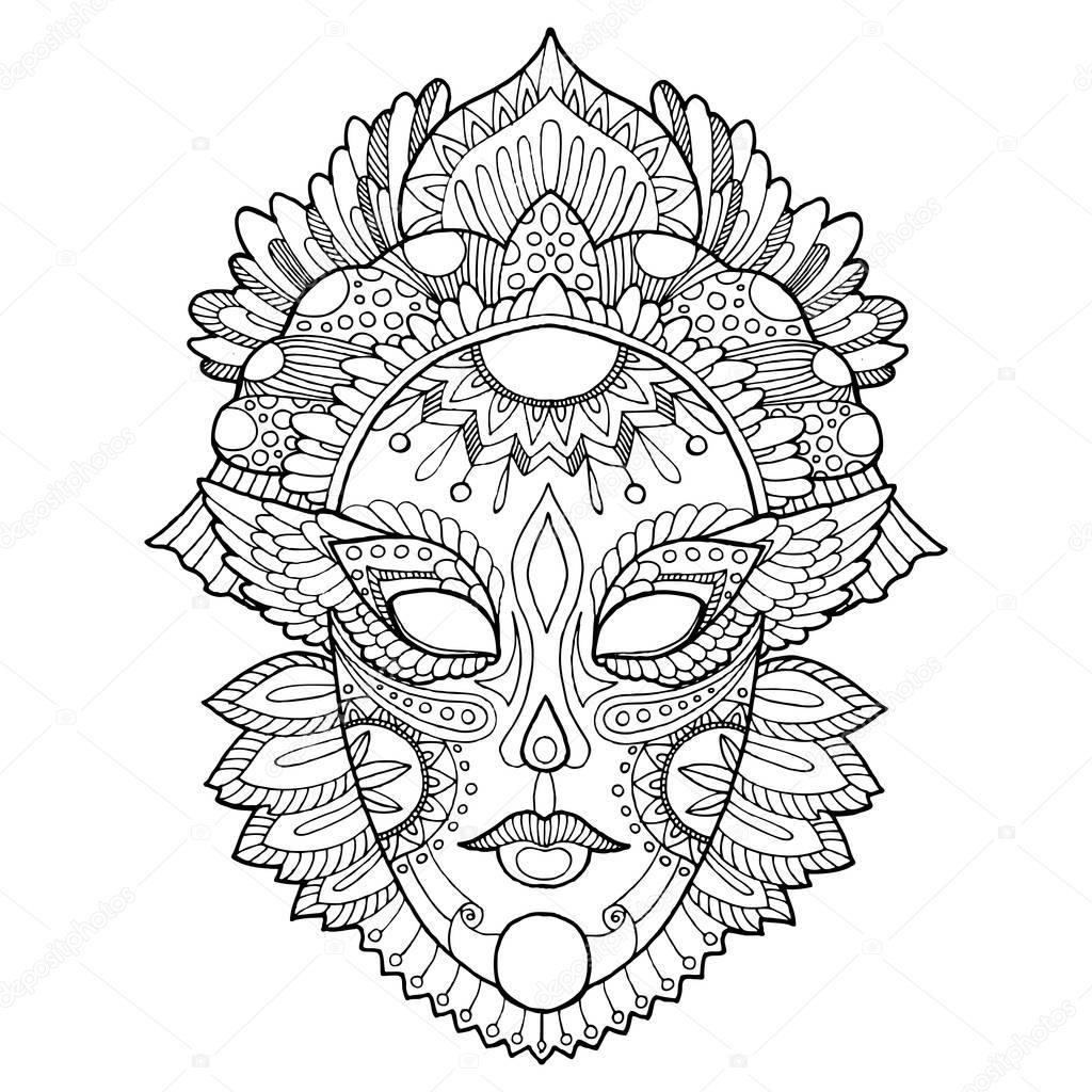 Kleurplaat Masker Carnaval Kleurplaten Venetiaanse Maskers Carnaval