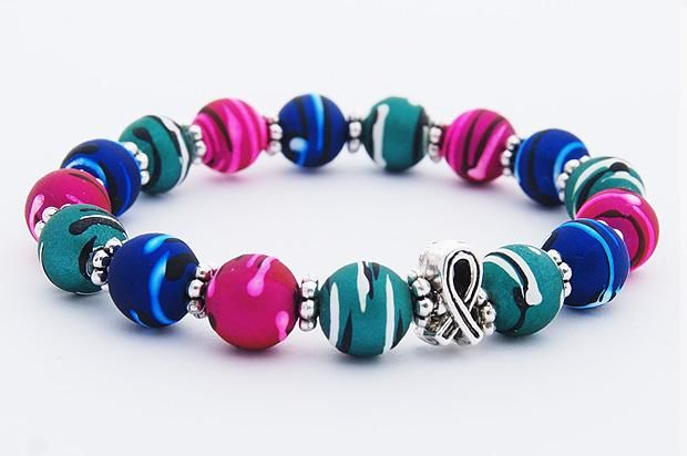 ef2427c79 Beaded Cancer Bracelet - Thyroid Cancer (Teal/Pink/Blue)......the four of  us will wear this everyday