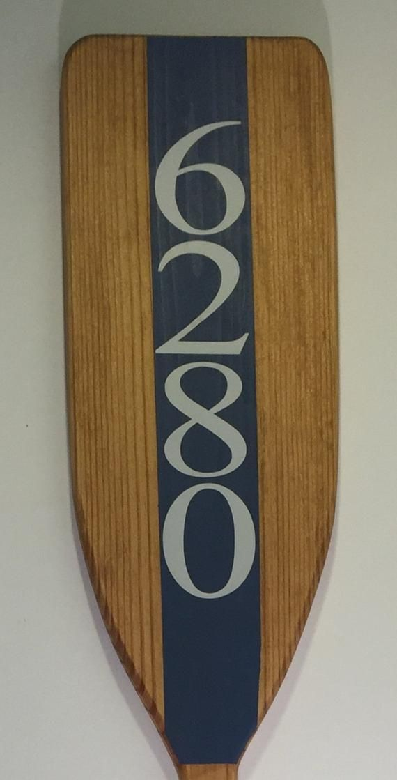 Photo of Wooden House Number Boat Oar, Nautical Coastal Address Sign