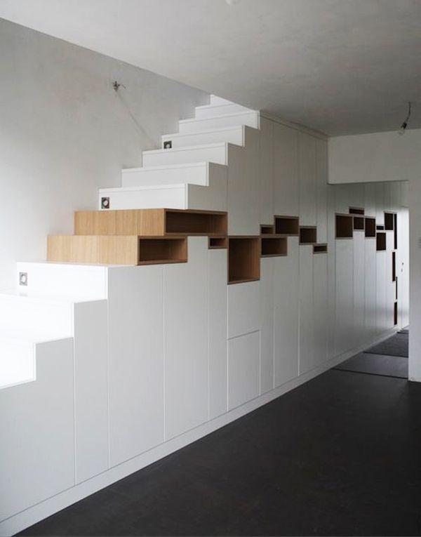escalier-bois-rangement-contemporain | Rooms | Pinterest | Escalier ...