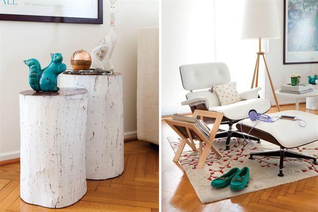 Deco: la casa de una bloguera por dentro  El revistero es de belgika ($490) y el sillón con otomana es de Dimension White. la lámpara trípode es de ketha y costó $9280.         Foto:Érika Rojas