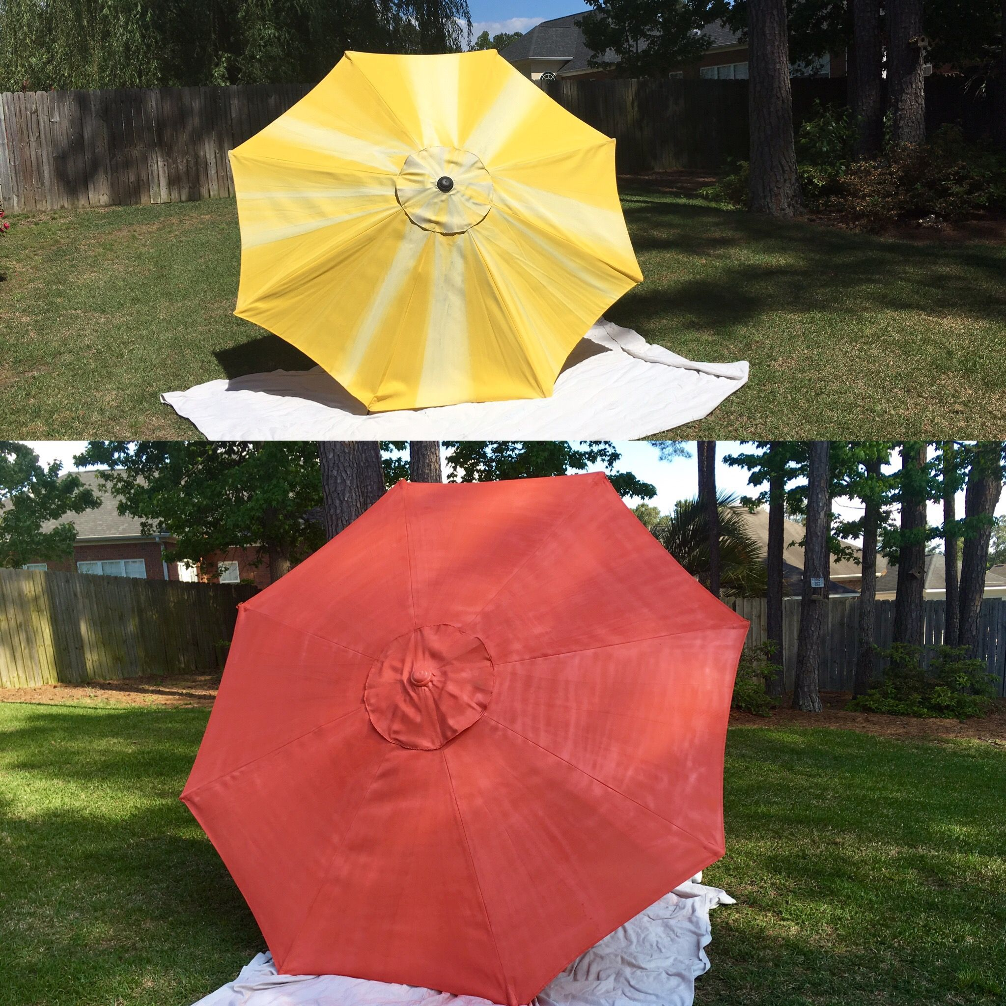 Rustoleum Spray Paint Coral Patio Umbrella Diy Updated Faded
