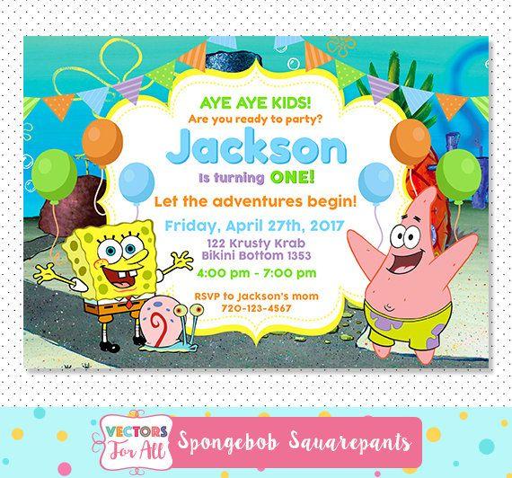 Spongebob Squarepants Party Invitation Spongebob Squarepants Party
