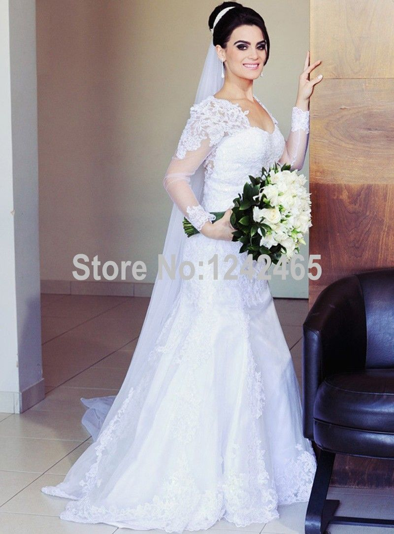 Find More Wedding Dresses Information about Sweetheart Long Sleeve ...