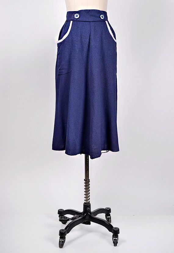 vintage 1930s blue pipe trim skirt