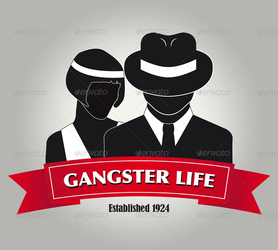 gangsters molls stock logo template speakeasy auction. Black Bedroom Furniture Sets. Home Design Ideas