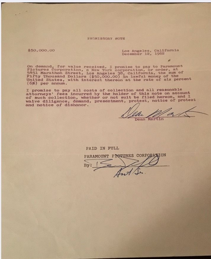 DEAN MARTIN \ SAMMY DAVIS JR - Signed Autograph Promissory Note - demand promissory note