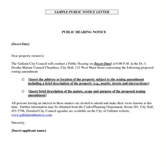 Notice Of Hearing Templates