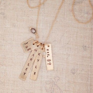 Custom Hand Stamped Jewelry Personalized Gold Jewelry Three