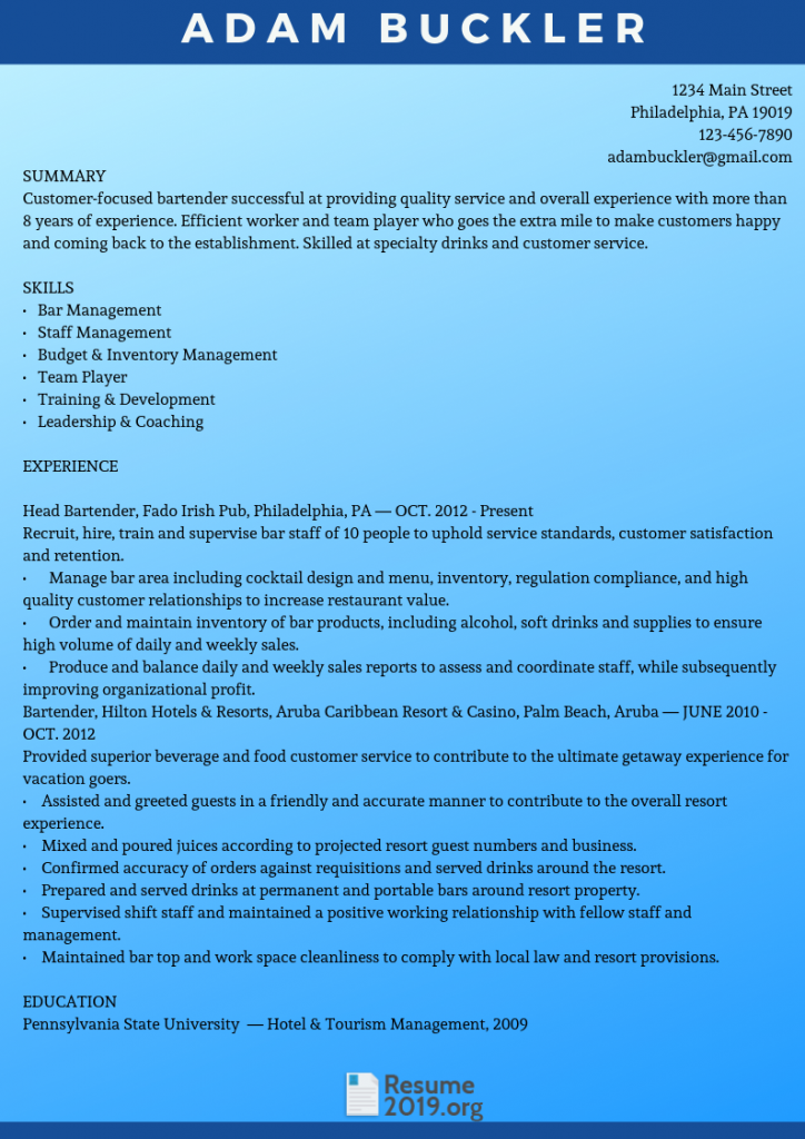See this resume format for 2019 via this link www