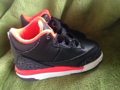 buy popular dbd81 163a5 Nike Air Jordan Retro III Toddler Size 4 Black And Crimson Canyon 3 Retro