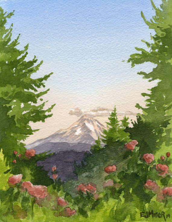 Mt Hood Art Print Oregon Wall Art Portland Rose Garden Art