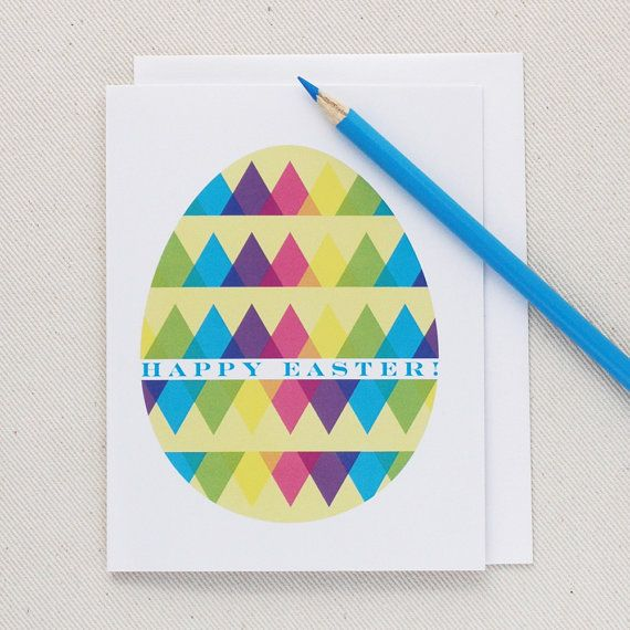 Modern Easter Card Happy Easter Greeting Card By Ohgeezdesign