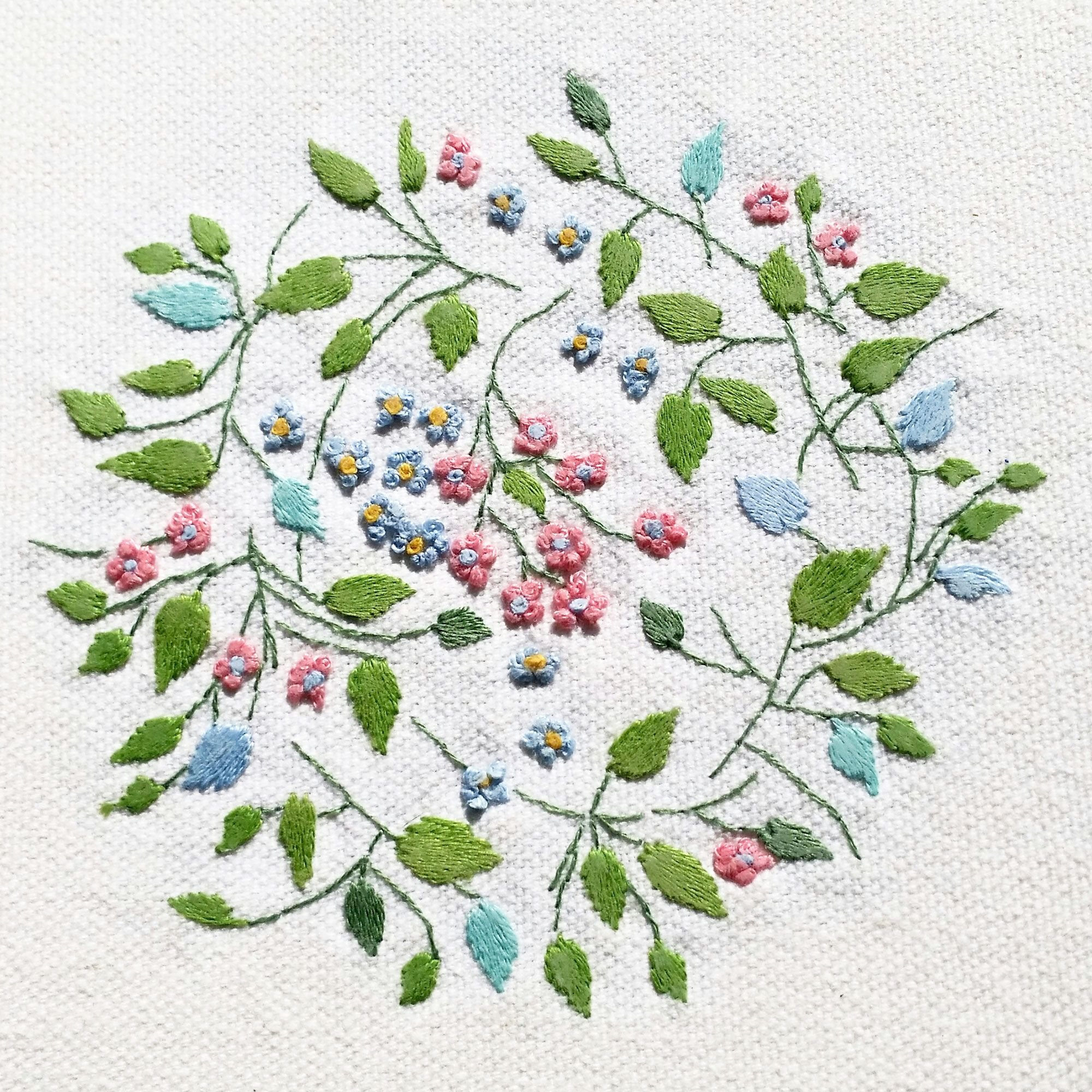 Embroidery vines and flowers hand