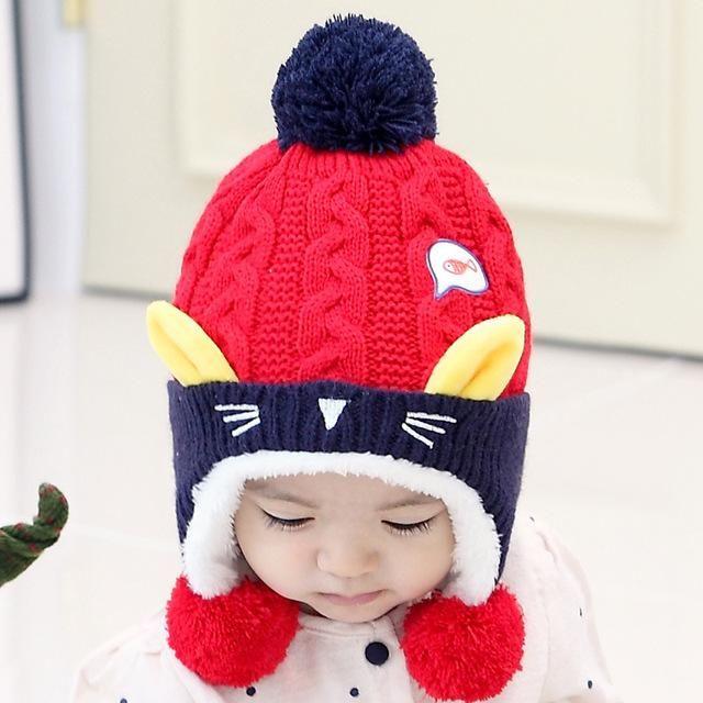 07f0df9ec27 Cute Baby Winter Hat Warm Infant Beanie Cap For Children Boys Girls Animal  Cat Ear Kids