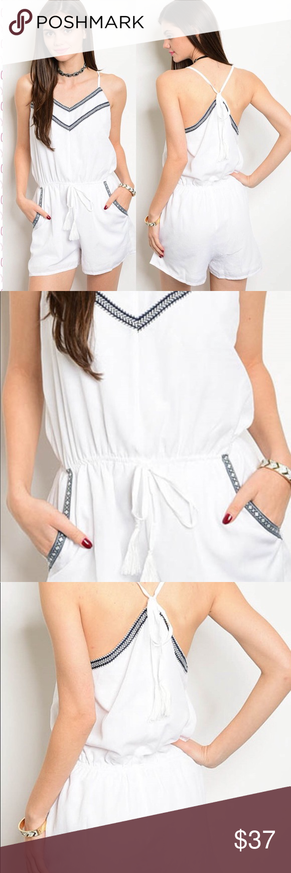 "❤️DARLING LINED EMBROIDERY SMOCK WAIST ROMPER *Darling lined off white embroidery detail smock waist romper shows a lot with the spaghetti straps that tie in the back with tassels, the tie in front at elastic waist, the v-neck & pockets outlined in embroidery  *100% Rayon  *Length approx 38"" Inseam approx 2"" Shorts #whiteembroidery"