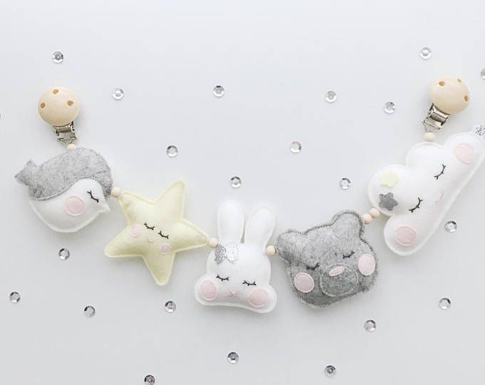 Car tensioner, stars and cloud, white old pink Oudgrijs, 9cm High, 42cm wide, decoration, Kids room, wholesale