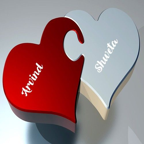 Print BF And GF Name In Romantic Love Heart Profile Photo