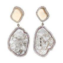 Woolly Mammoth & Diamond Slice Earrings