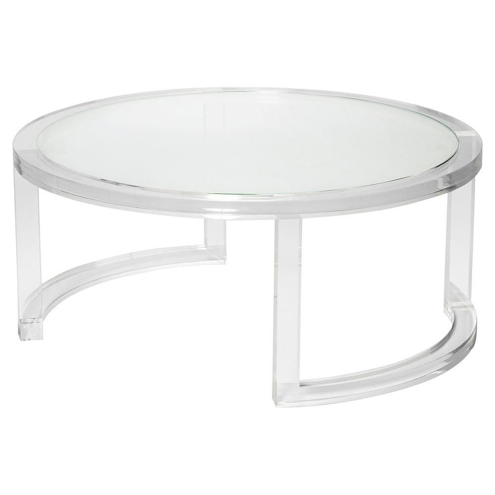 - Interlude Ava Modern Round Clear Glass Acrylic Coffee Table