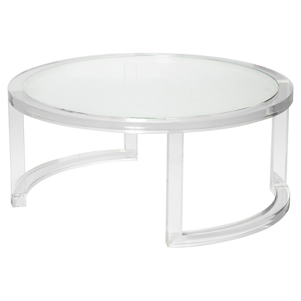 Interlude Ava Modern Round Clear Glass Acrylic Coffee Table Mebel Idei Dlya Mebeli Idei