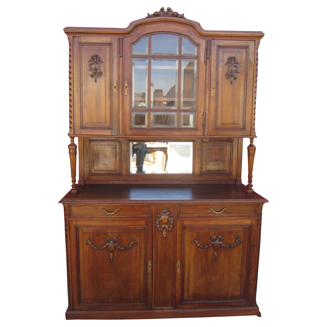 French Antique Walnut Hutch China Cabinet Antique Furniture - French Antique Walnut Hutch China Cabinet Antique Furniture For