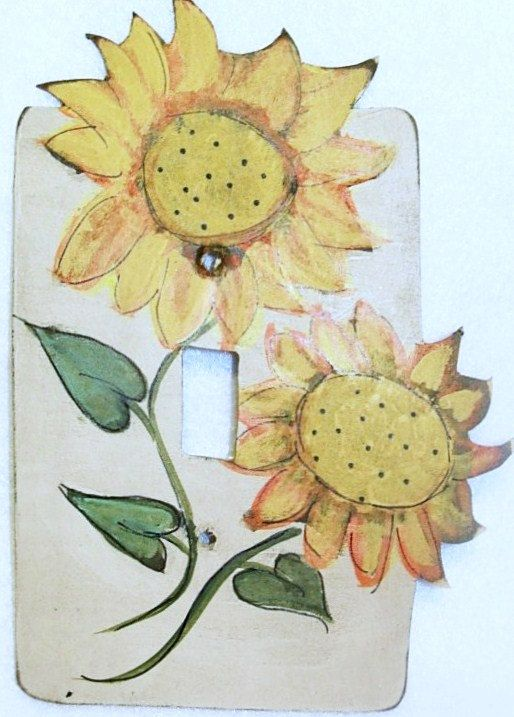 Items similar to Prim Country Garden Sunflowers Hand painted Switch ...