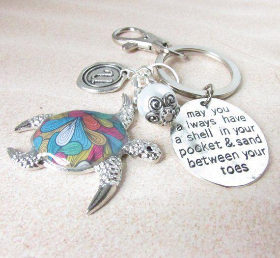 Sea Turtle Keychain, Turtle Keyring, Beach Keychain, Car