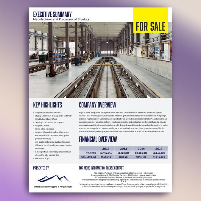Image result for architectural firm one-page executive summary Art