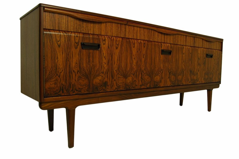 Rosewood And Zebrano Mid Century Modern Credenza Or Sideboard Danish Style Vintageretro Mid Century Modern Credenza Credenza Danish Style