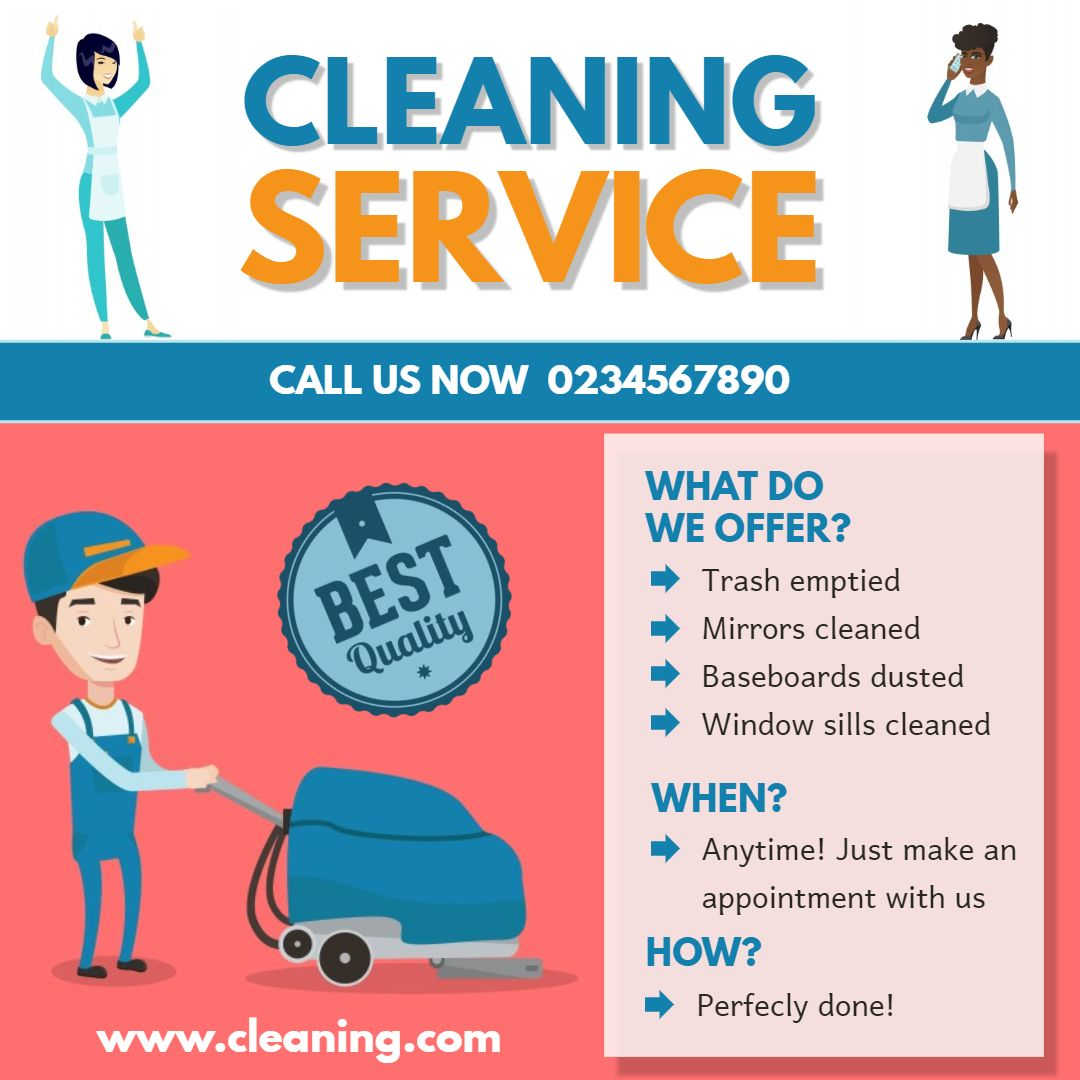 Illustrated Professional House Cleaner Advert Sample