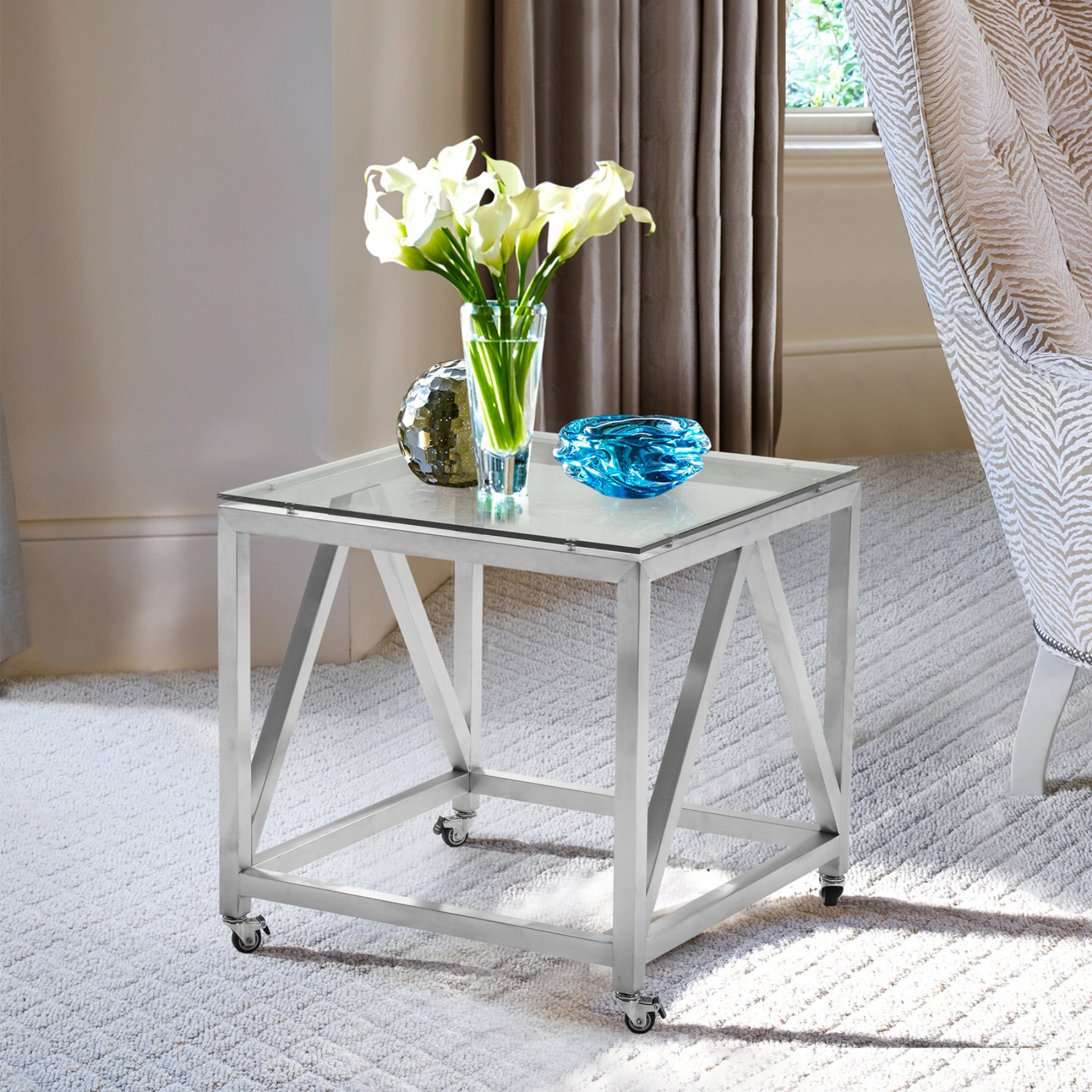 Square End Table With Wheels  Lcenlaglbs