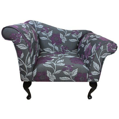 Purple Black And White Living Room: Designer Chaise Chair In A Black White And Purple Floral