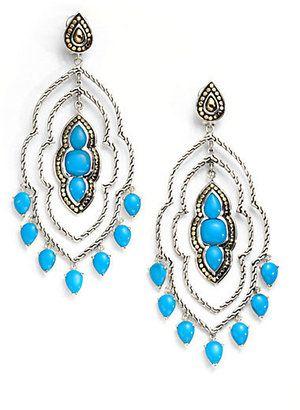 John Hardy Sterling Silver 18K Gold Turquoise Chandelier Earrings John Hardy