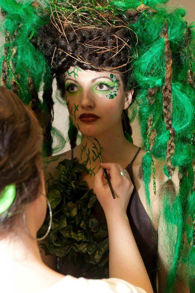 """Heather doing the """"Tree's"""" makeup. Photo Credit Sarah"""